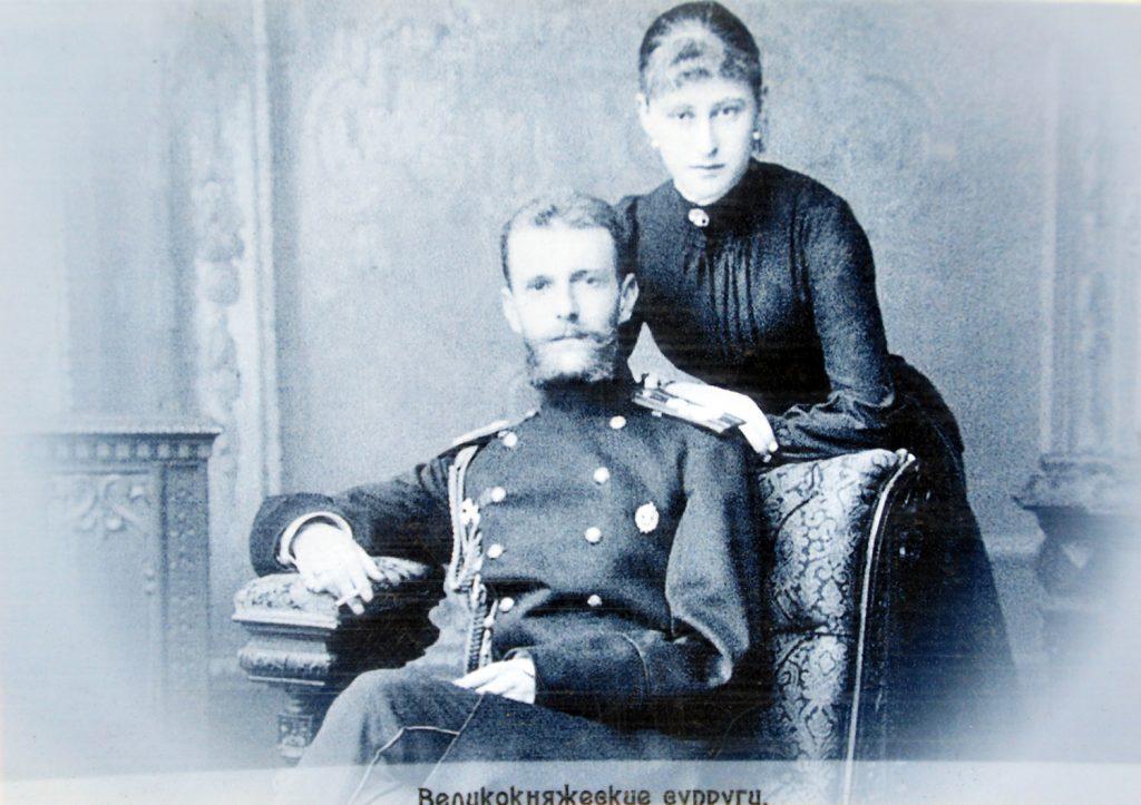 Княгиня Елизавета Федоровна Романова с мужем великим князем Сергеем Александровичем Романовым в Марфо-Мариинской обители в Москве.