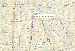 Наш маршрут по Пятницкой улице.