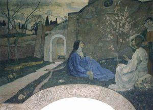 Роспись «Христос у Марфы и Марии» в Покровском соборе в Марфо-Мариинской обители в Москве.